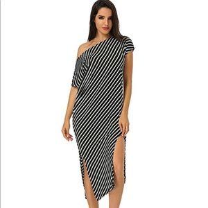 Dresses & Skirts - Asymmetrical off-the-shoulder striped maxi dress